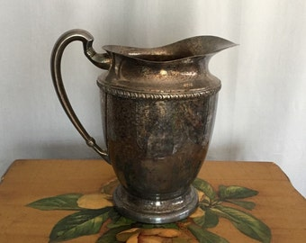 Pitcher Vintage Silver Plated Tarnished Metal Floral Vase