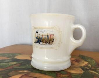 Train Shave Cup White Milk Glass Mug Vintage Avon Blue Engine Logo