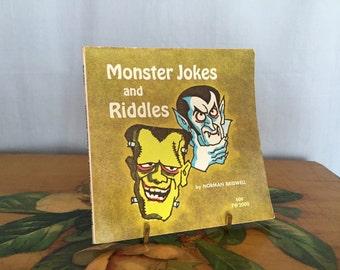 Monsters Jokes and Riddles Book Vintage Children's Paperback Green Small Jokes Vampire Mummy Halloween