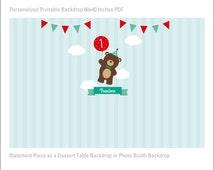 Teddy Bear Picnic Printable Backdrop Woodland Large Scale Backdrop, Teddy Bear Birthday Backdrop