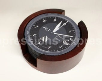 Altimeter Aviation Coaster Set of 5 with Wood Holder