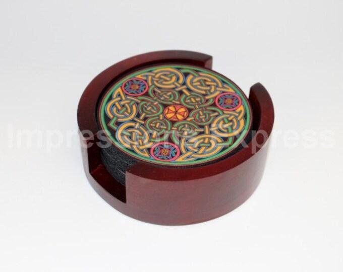 Celtic Knot Coaster Set of 5 with Wood Holder