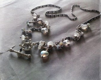 Precious whites necklace shabby crown moonstone czech beads free shipping