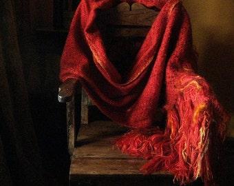 Long wrap handwoven flaming red shawl fiber art cape