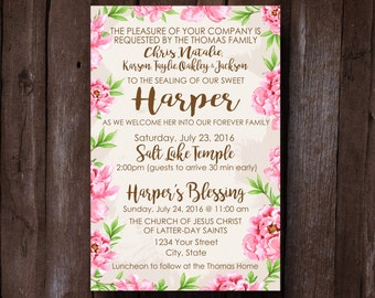 LDS Family Sealing Invitation, Family Sealing Invite, Family Temple Sealing, Temple Family Sealing, Baby Blessing Invitation, Child Sealing
