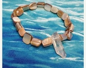 ON SALE Fresh Water Pearls, Pearl Bracelet, Quartz Crystal, Gemstone Bracelet