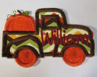 Iron On Applique - Thanksgiving Pumpkin Truck
