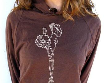 Womens Wildflower Sweatshirt - Poppies -  American Apparel California Fleece Pocket Pullover Hoodie - XS, Small, Medium, Large, XL, 2XL