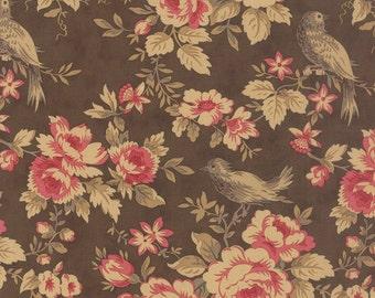 Walnut Brown Rose Bird Mille Couleurs Fabric - 3 Sisters - Moda - 44081 12