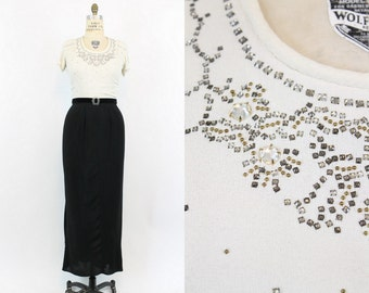40s Dress Rhinestones Medium / 1940s Vintage Black and White Rayon Gown / It All Came True Dress