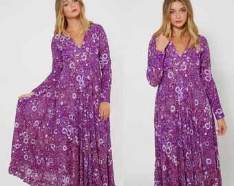 Vintage 70s Purple LACE Maxi Dress FLORAL Dress Boho Dress SHEER Dress Hippie Maxi Dress