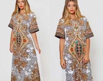 Vintage 70s ETHNIC Caftan White MANDALA Print Boho Maxi Dress HIPPIE Festival Tribal Dress