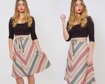 Vintage 70s CHEVRON Stripe Skirt BELTED Skirt  A line Boho Skirt Vintage Stripe Skirt