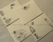 "Litchfield Hill Notepaper Stationery by Michelle L. Palmer 4.25"" x 5.5"" Bombus Garden Bees Daisy Pansy Bumble"
