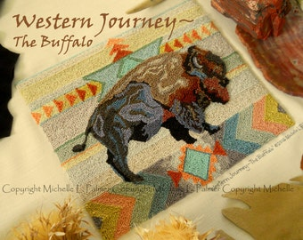 Western Journey Buffalo Tribal Native American Punch Needle Embroidery DIGITAL Jpeg and PDF PATTERN Michelle Palmer Painting with Threads