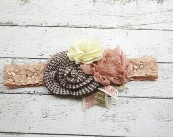 Brown tan cream ivory flower headband