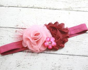 Pink and burgundy flower headband