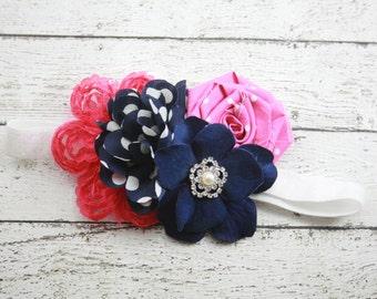 Navy blue pimk white polka dot pearl rhinestone flower headband