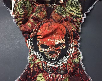 MamaBear All In One, One Size T-shirt Fitted Cloth Diaper, AIO - Skulls & Roses