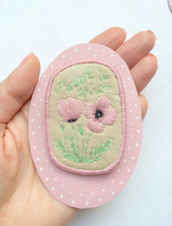 SALE! Textil Floral Brooch Pavot - Papaver - hand embroidery unique jewellery. Botanical embroidery art. Floral motive.