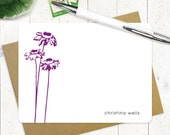 personalized stationery set - CONEFLOWER - set of 12 flat note cards - personalized stationary - choose color
