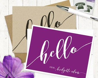 personalized stationery set - HELLO CALLIGRAPHY - set of 8 folded note cards - fun stationery