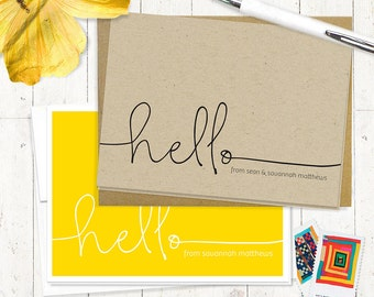 personalized stationery set - HELLO HANDWRITING - set of 8 folded note cards - fun stationary