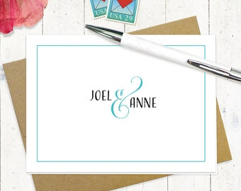 personalized stationery set - COUPLES AND AMPERSAND - set of 8 - personalized stationary folded note cards - choose color