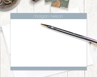 personalized flat note cards stationery set - MODERN MINIMALIST - set of 12 - choose color - personalized stationary