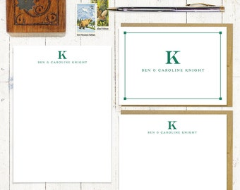 complete personalized stationery set - PROFESSIONAL MONOGRAM - personalized monogrammed stationary - notepad - note cards