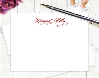 personalized note card stationery set - CLASSIC CALLIGRAPHY - set of 12 flat note cards - personalized stationary - choose color