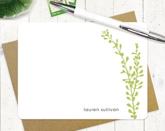 personalized stationary set - LEAFY STEM - set of 12 flat note cards - personalized stationery - choose color
