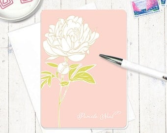 personalized note card set - PRETTY PEONY BLOSSOM - set of 8 folded cards - custom stationary - floral stationery