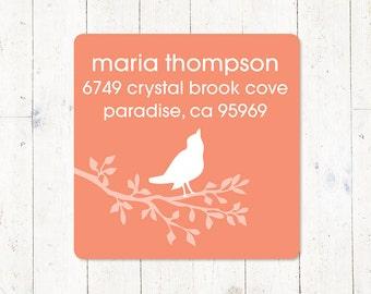 personalized return address LABEL - BIRD on BRANCH - sticker - square label - set of 48 labels