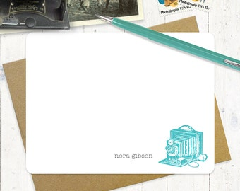 personalized flat note cards stationery set - VINTAGE CAMERA - set of 12 - personalized stationary - choose color