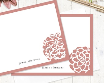 personalized stationery set - DARLING ORNAMENTALS - set of 12 flat note cards - personalized stationary - choose color
