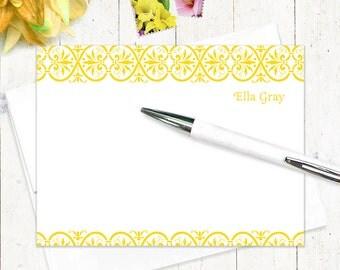 personalized stationery set - ELEGANT ELLA - set of 12 flat note cards - personalized stationary set