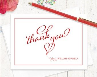 personalized thank you note cards - THANK YOU from the HEART - set of 8 folded cards - personalized stationary set