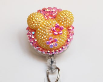 Minnie Mouse Shimmery Summer Yellow Silhouette ID Badge Reel - Retractable ID Badge Holder - Zipperedheart