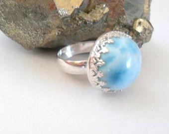 Ocean Blue Larimar Sterling Silver Artisan Ring, Size 7.5