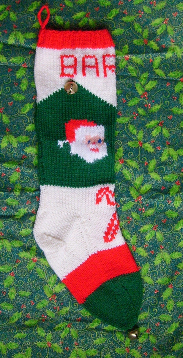 Vintage Christmas Stocking Knitting Pattern : 1950s Vintage Knitted Santa Christmas Stocking by ArneyDesign