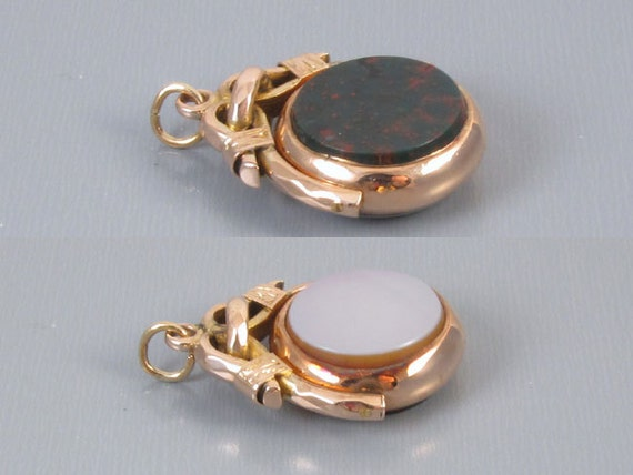 Antique Edwardian 10k gold double sided sardonyx and bloodstone spinner fob
