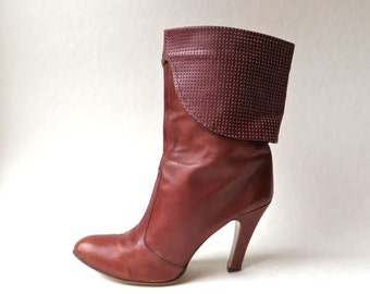 70s vintage Boho Russet Brown Leather High Heel Ankle Boots with Exaggerated Perforated Cuffs / Made in Yugoslavia