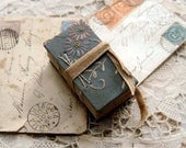 The Little Daydreamer - Vintage Embroidered Linen, Tea Stained Fold Out Pages - OOAK