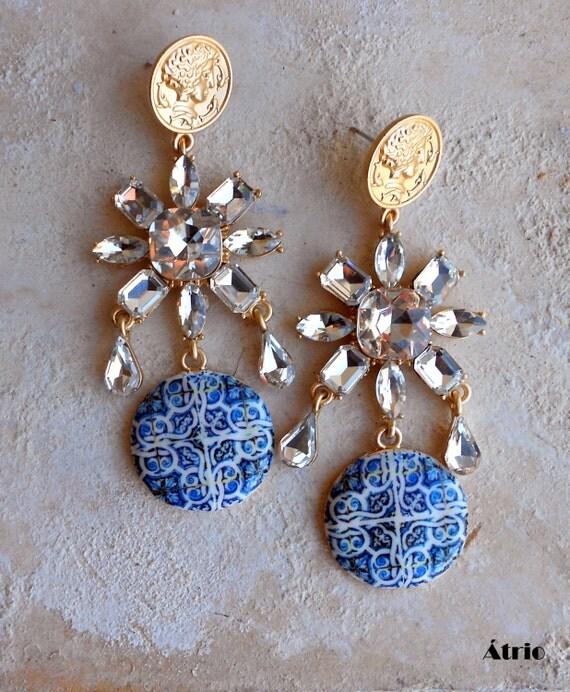 Portugal Antique Azulejo Tile Chandelier Earrings - Majolica BAROQUE  - 17th Century Italo Flemish LISBON Relic Rhinestone Dangle