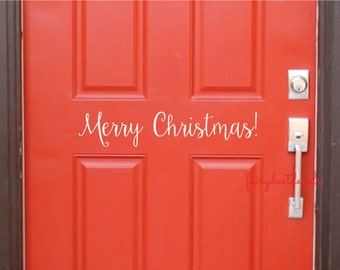 Merry Christmas door decal - vinyl lettering for front door - Happy Holidays