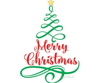 Merry Christmas vinyl wall decal, tree with letters, holiday greeting, christmas tree vinyl sticker, script style letters with tree decal