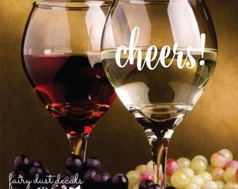 Cheers decal, wine glass decal, wedding stickers, mason jar sticker, cheers vinyl decal