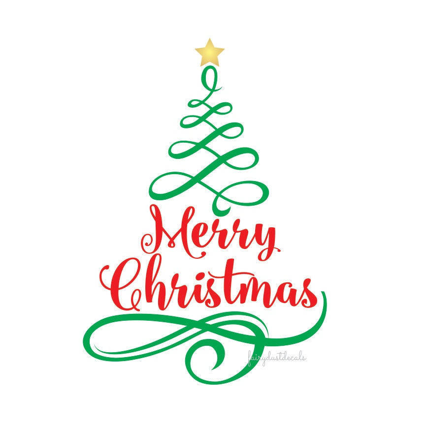 Merry Christmas Vinyl Wall Decal Tree With Letters Holiday