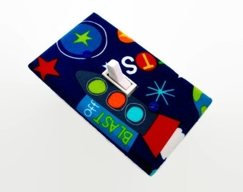 Outer Space Light Switch Cover - Rocket Switch Plate - Childrens Planet Room - Rocket Ship Room Decor - Boys Room Decor - Space Room Decor